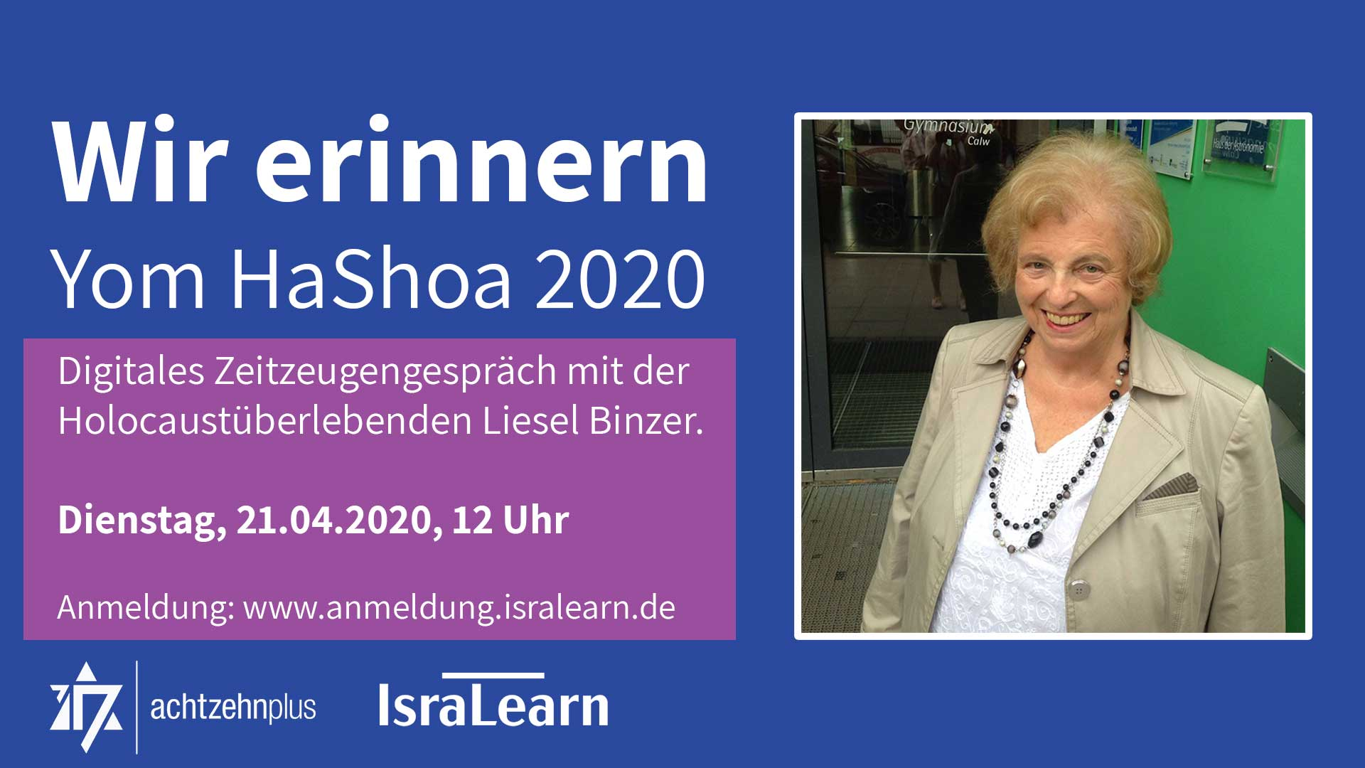 Yom HaShoa 2020 - Digitales Zeitzeugengespräch