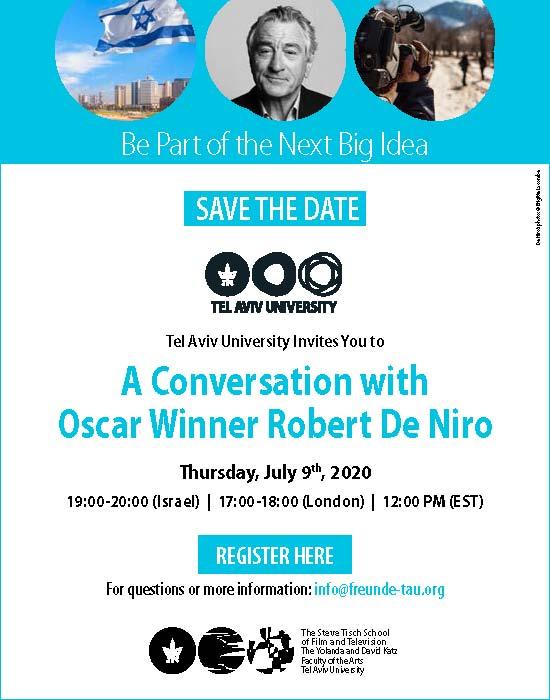 Robert de Niro im TAU Webinar am 9. Juli 2020