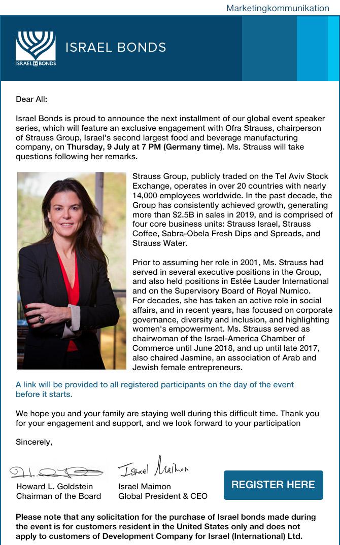 Einladung Online-Event mit Ofra Strauss von der Strauss Group