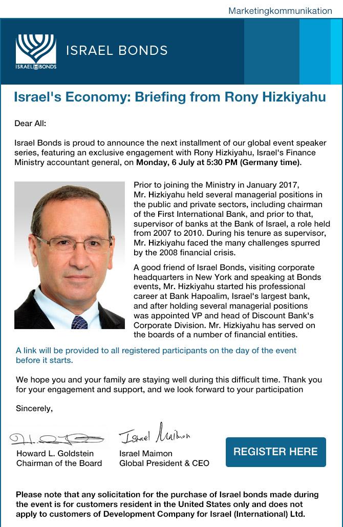 Einladung zum Online-Event mit Rony Hizkiyahu vom israelischen Finanzministerium