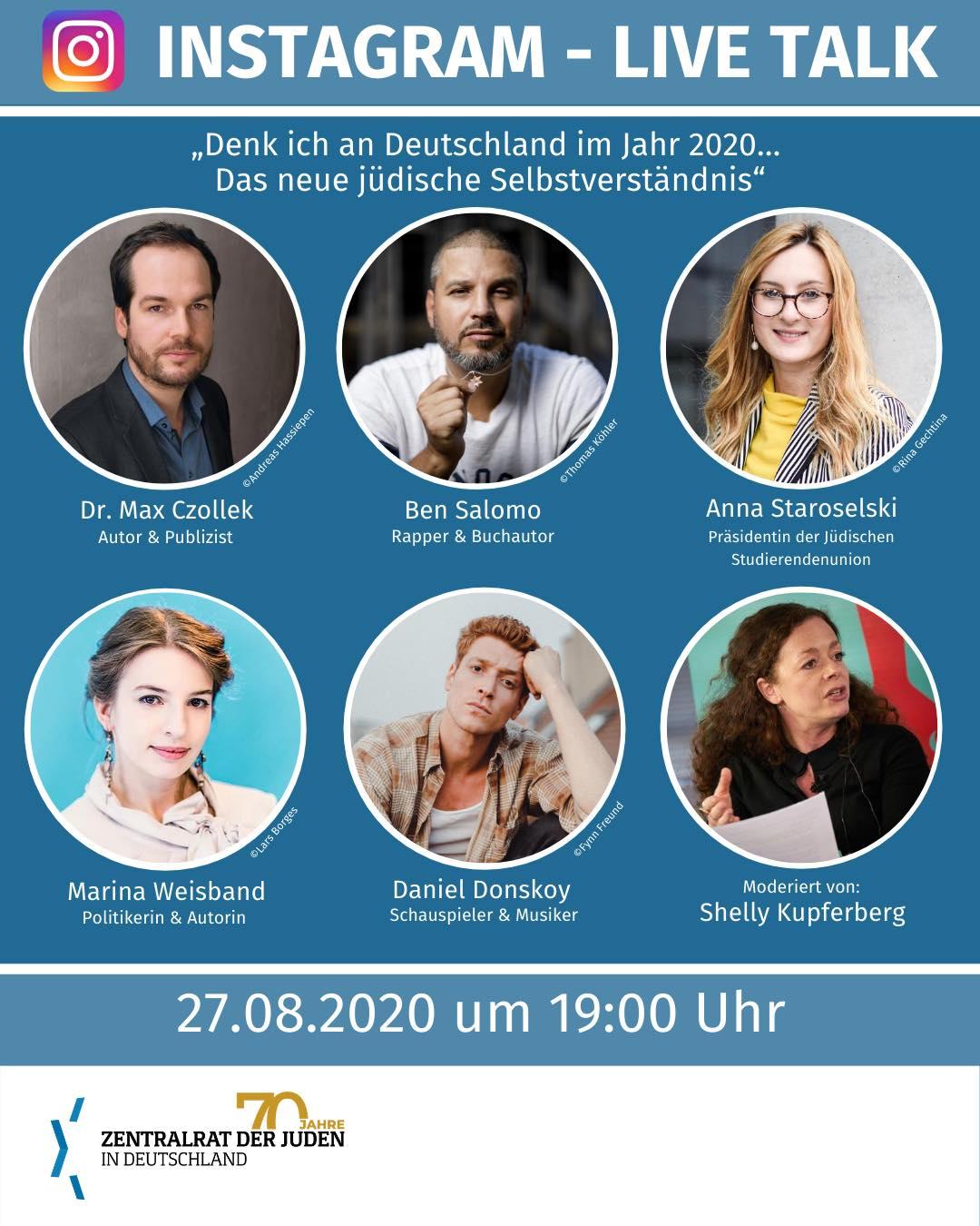 """INSTAGRAM-LIVE TALK: Donnerstag 19h - """"Denk ich an Deutschland im Jahr 2020… Das neue jüdische Selbstverständnis"""""""