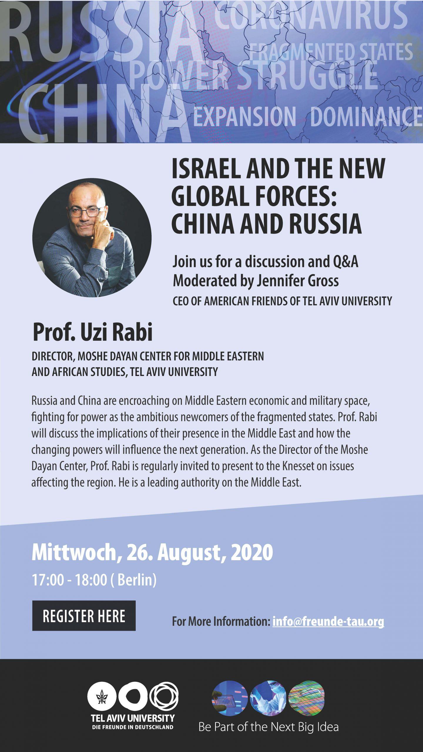 Israel zwischen Russland und China?   - TAU Online Event am 26.08.20