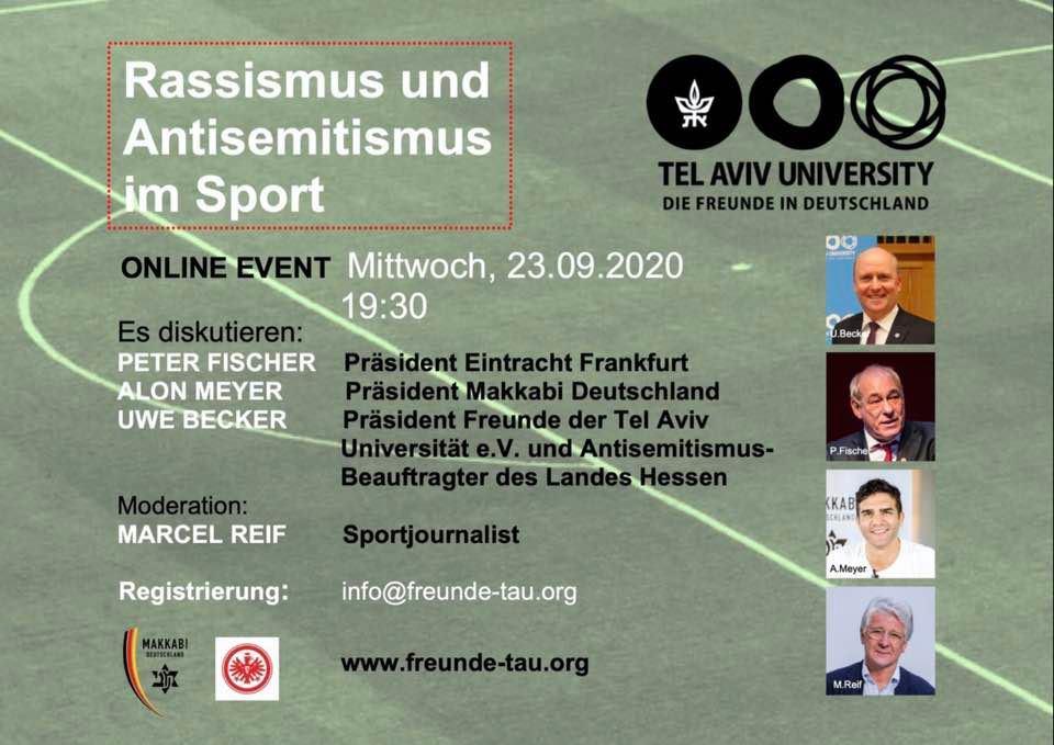 Einladung TAU Online Event 23.09.20: Rassismus und Antisemitismus im Sport