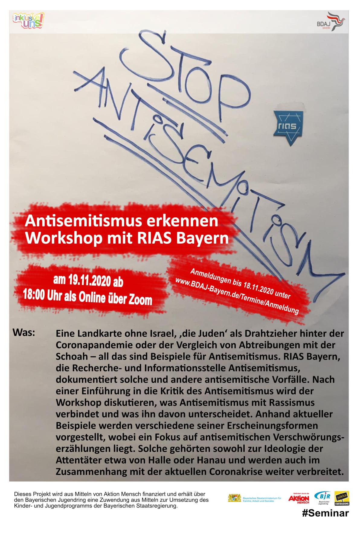 Online-Seminar: Antisemitismus erkennen – Workshop mit RIAS Bayern - Recherche- und Informationsstelle Antisemitismus