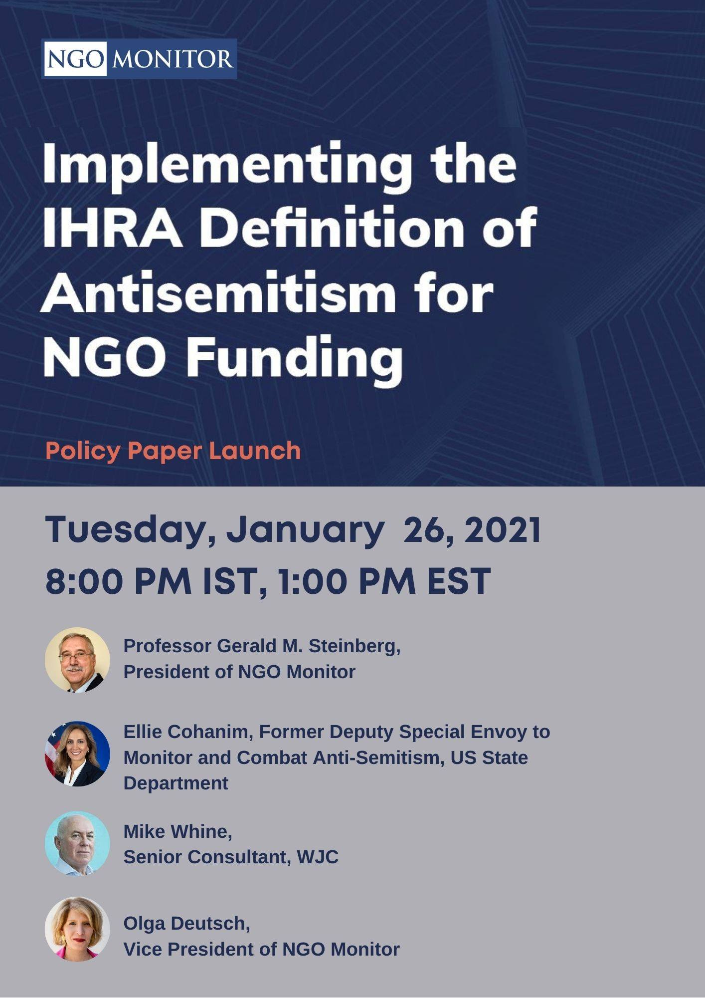 Implementing the IHRA Definition of Antisemitism for NGO Funding