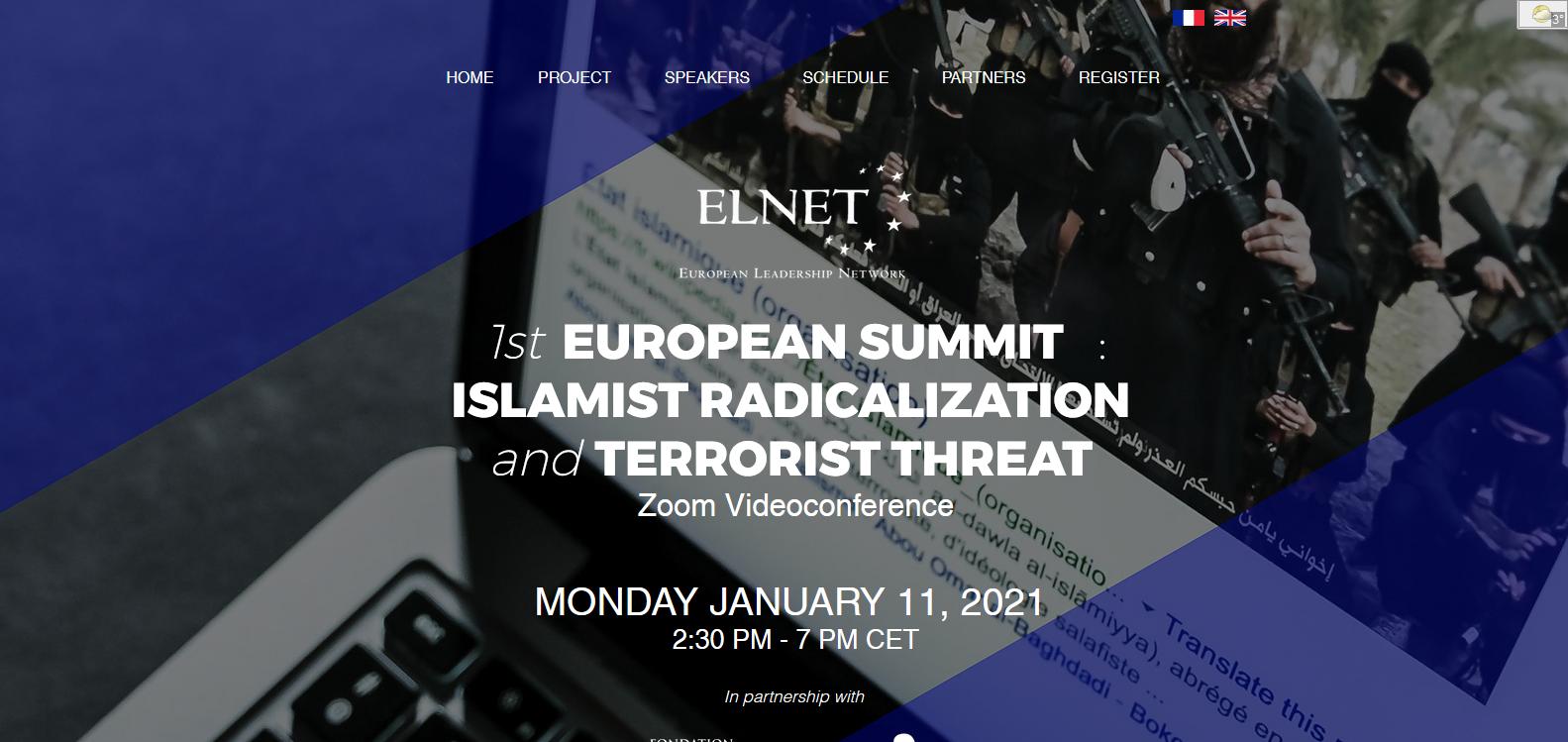 ELNET - 1st  EUROPEAN SUMMIT:  ISLAMIST RADICALIZATION and TERRORIST THREAT - Zoom Videoconference