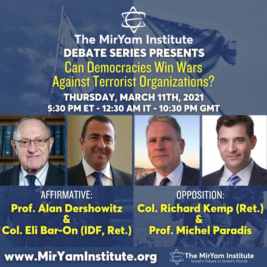 Dershowitz, Kemp to debate if democracies can win wars against terror groups