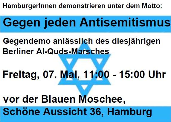 HamburgerInnen demonstrieren unter dem Motto: Gegen jeden Antisemitismus