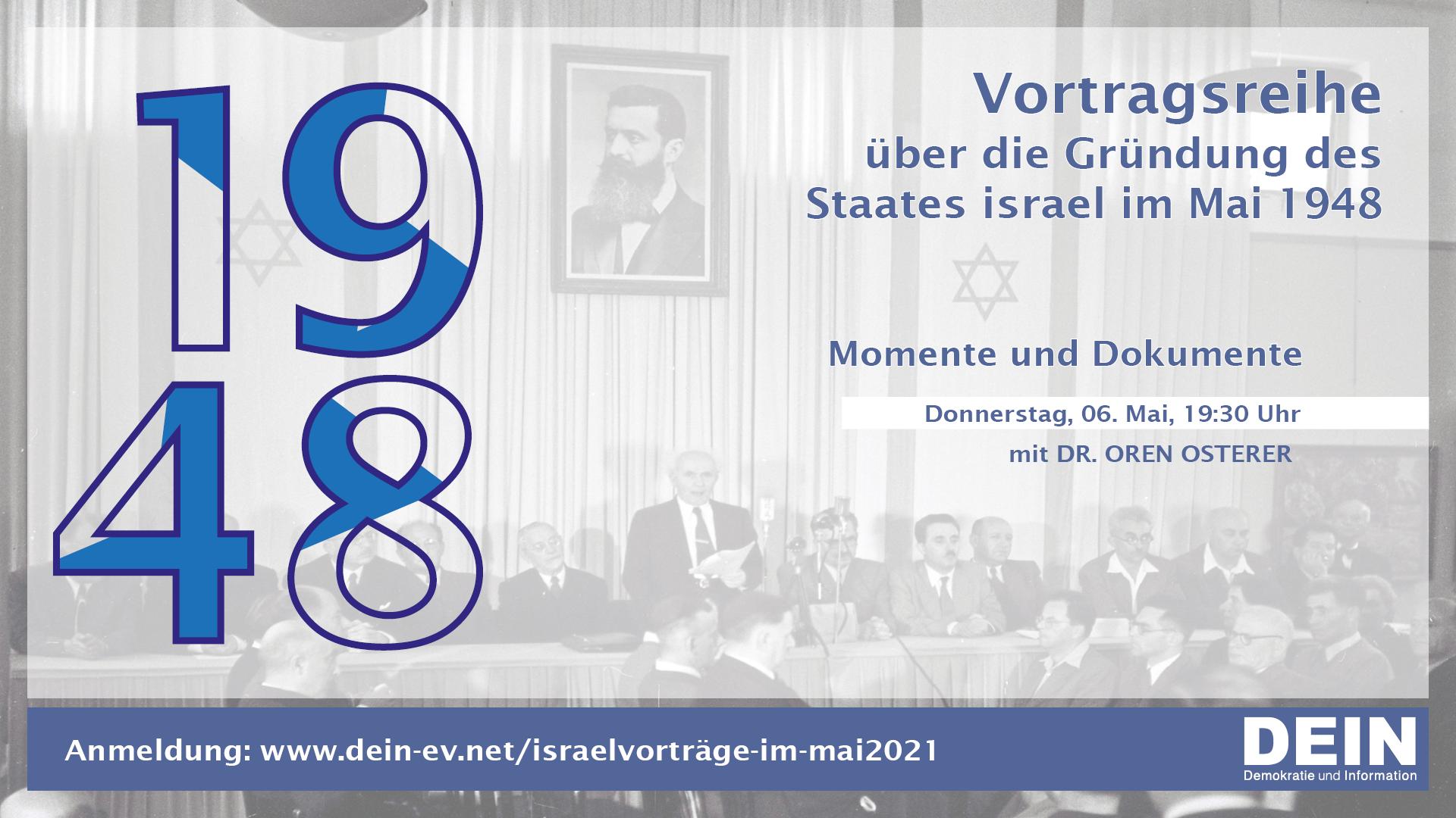 Momente und Dokumente // DEIN-Israelvorträge im Mai