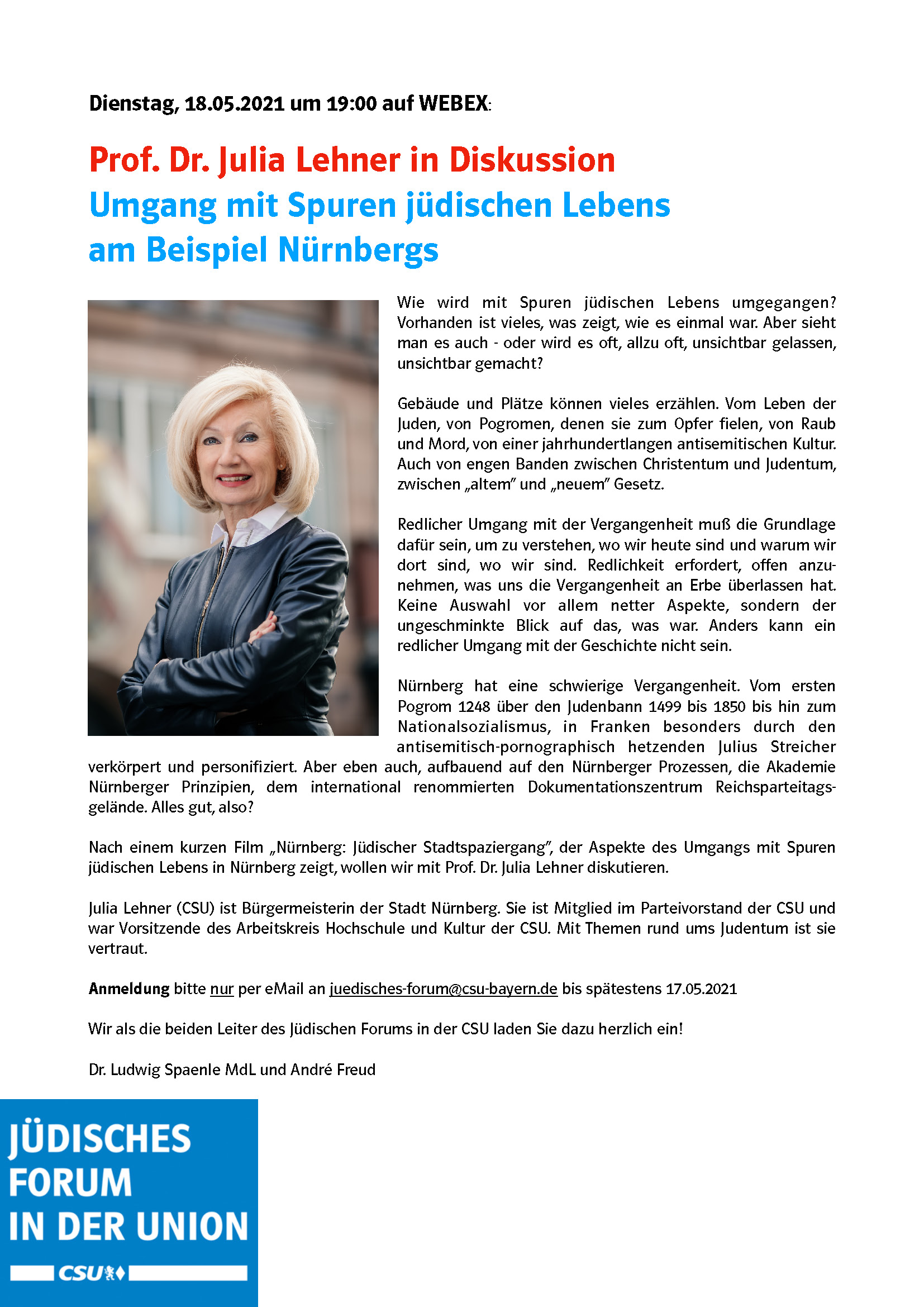 Einladung: Videokonferenz des Jüdischen Forums der CSU