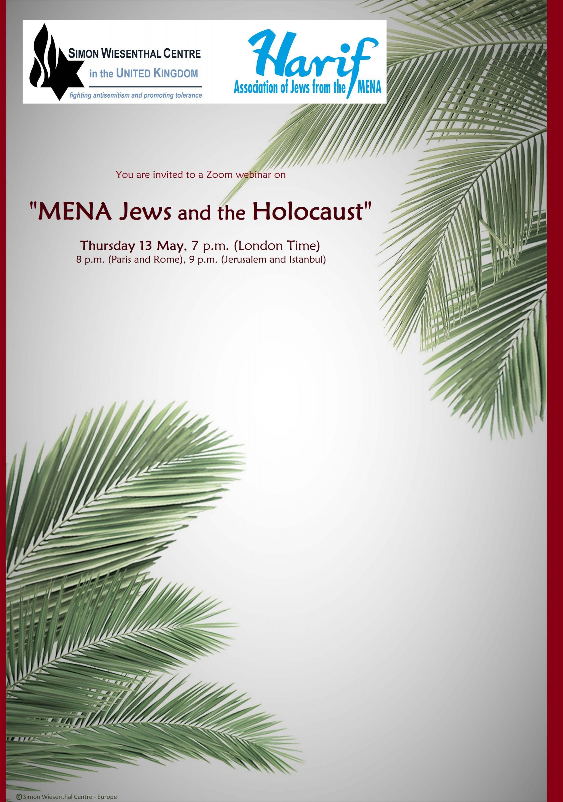 "Invitation to Zoom on ""MENA Jews and the Holocaust"""