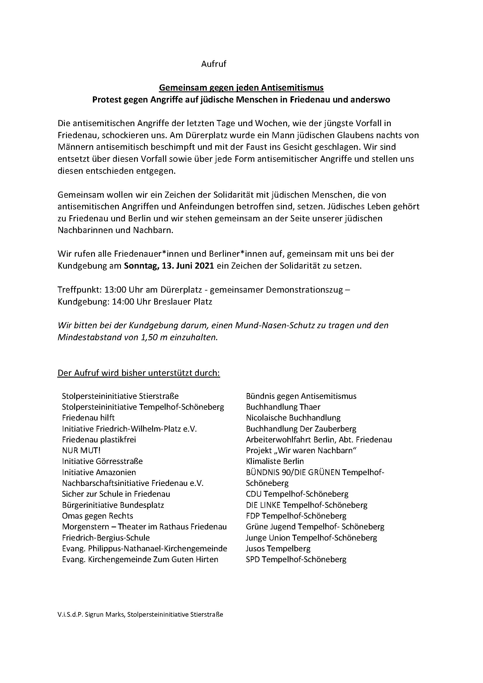 Demonstration & Kundgebung Gemeinsam gegen jeden Antisemitismus - Protest gegen Angriffe auf jüdische Menschen in Friedenau und anderswo