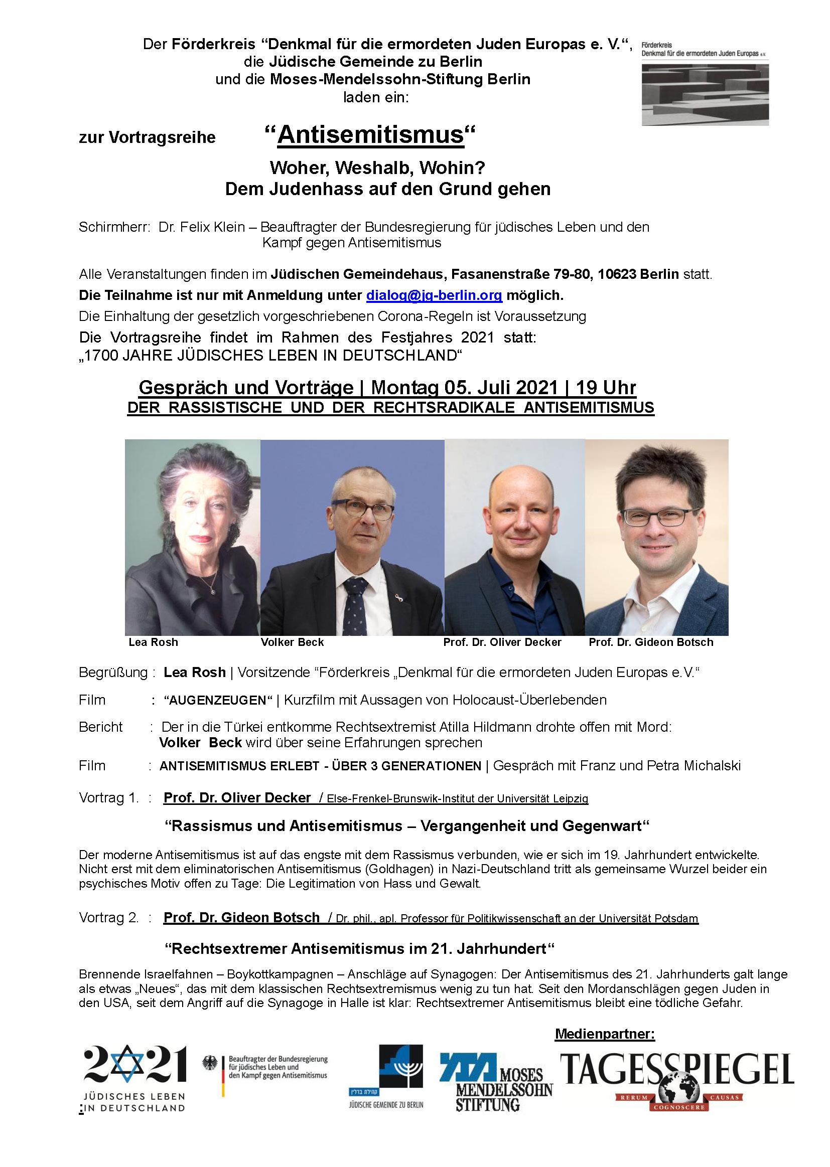 Gespräch und Vorträge: DER RASSISTISCHE UND DER RECHTSRADIKALE ANTISEMITISMUS