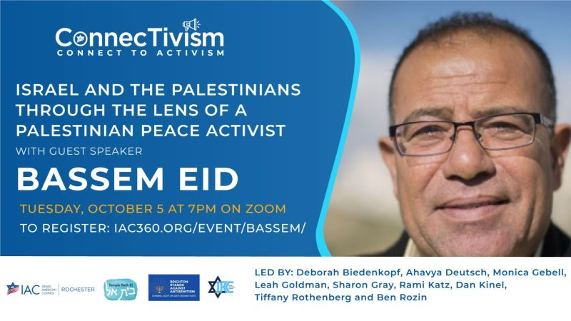BRIGHTON STANDS AGAINST ANTISEMITISM: Israel and the Palestinians Through the Lens of a Palestinian Peace Activist. Guest speaker: Bassem Eid.