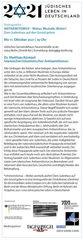 """Vortragsreihe """"Antisemitismus Woher, Weshalb, Wohin?""""  Dr. Matthias Küntzel: Der islamische/ islamistische Antisemitismus"""