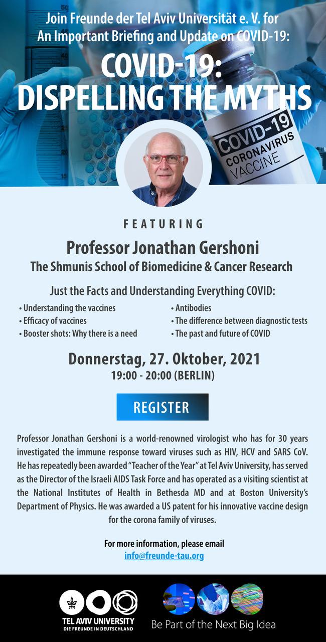 Covid-19: die aktuelle Lage – TAU Online Event mit Prof. Jonathan Gershoni