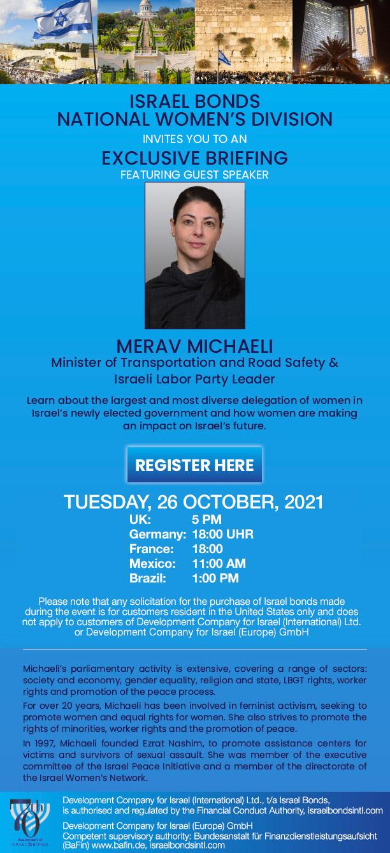 Exklusives Briefing mit Ministerin Merav Michaeli am 26. Oktober 2021